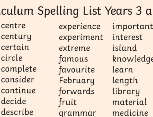 Year 4 Statutory Spellings