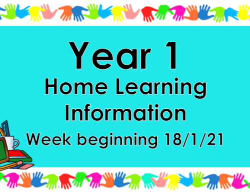 Year 1 Home Learning Wednesday 20/1/21