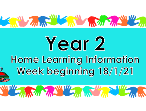 Year 2 Home Learning – Monday 18th January