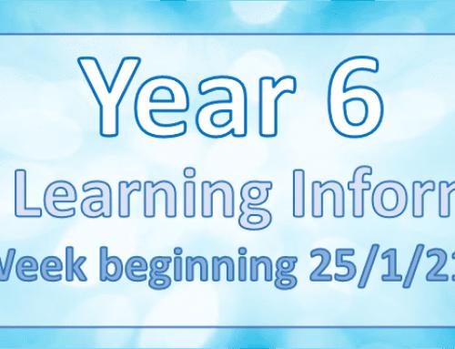 Home Learning – Week Beginning 25/01/2021