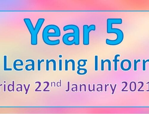 Year 5 Home Learning – Friday 22nd January 2021