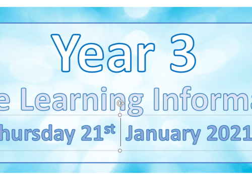 Year 3 Remote Learning Thursday 21st January 2021