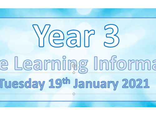 Year 3 Remote Learning Tuesday 19th January 2021