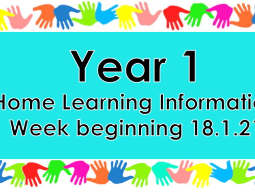 Year 1 Home Learning Monday 18/1/21