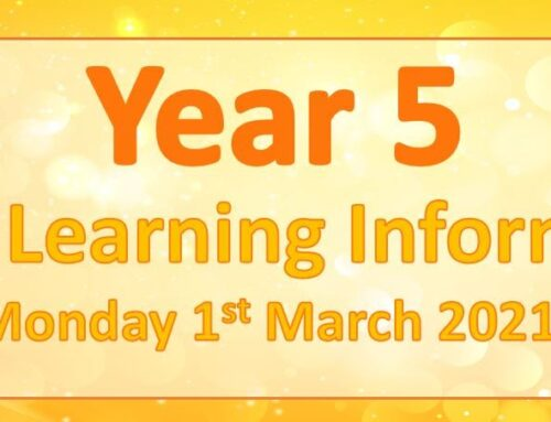 Year 5 Home Learning – Monday 1st March 2021