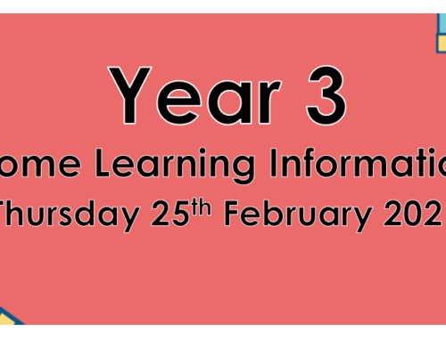 Year 3 Home Learning Thursday 25th February 2021