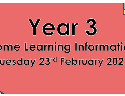 Year 3 Home Learning Tuesday 23rd February 2021