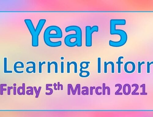 Year 5 Home Learning – Friday 5th March 2021